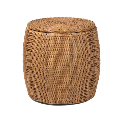 Textured faux rattan side table with storage.