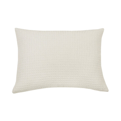 100% cotton waffle woven cream pillow. Cream pillow with stonewashed finish.