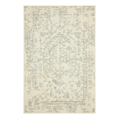 White and grey wool pile rug.