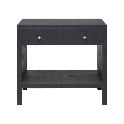 The Avon Nightstand is a classic style nightstand with a dark navy Belgian linen finish with a double wide drawer and open lower shelf.
