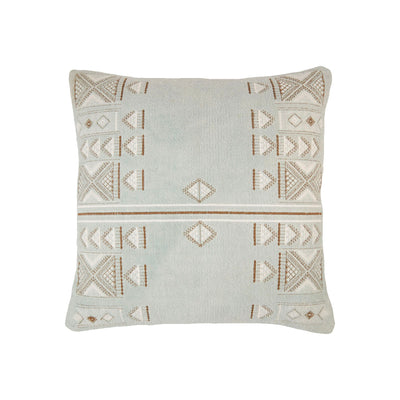 Moroccan inspired, dusty blue pillow with brown and white stitched embroidery.