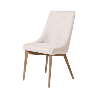 High backed dining chair with a off white upholstered seat and birch wood legs.