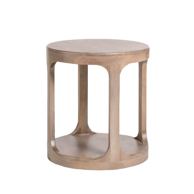 The Belfiore Side Table has an open-drum shape and is made of solid mango wood in a soft misted ash finish.