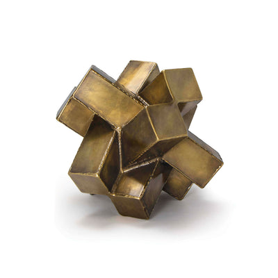Modern, chunky, brass sculpture made of iron and used as an accessory or decorative object.