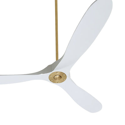 The Monaco Ceiling Fan is a large modern ceiling fan with a sleek shape  in a matte white finish with three blades with a burnished brass hanger kit.