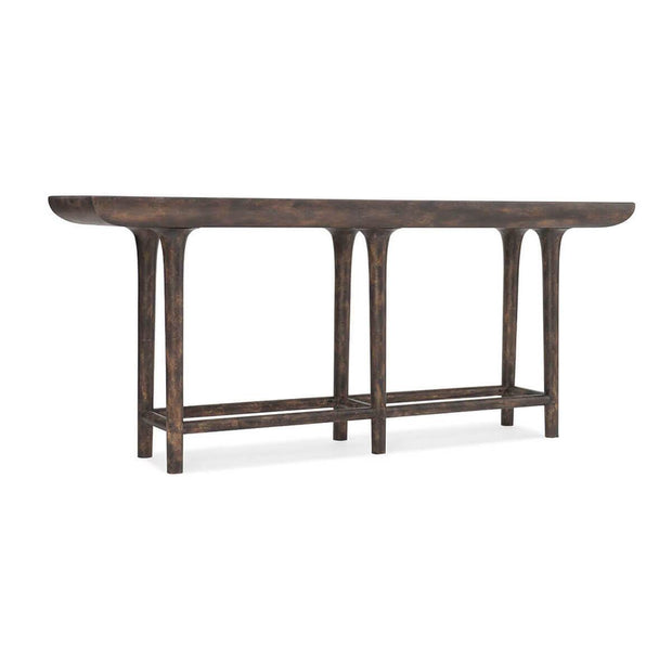 The Altona Console Table is made of wood and has round edges and legs.