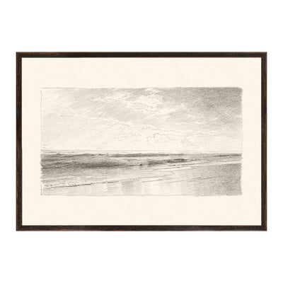 A beautiful historical pencil drawing of a seascape. Created by William Richards.