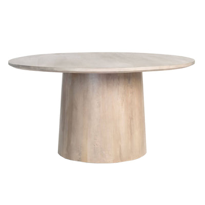 The Seattle Dining Table has a round top and a thick pedestal base made from solid mango wood in a misted ash finish.