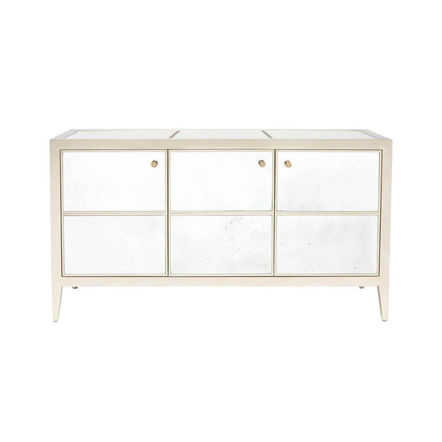 The Chapel Park Sideboard is made of silver and antique mirror.