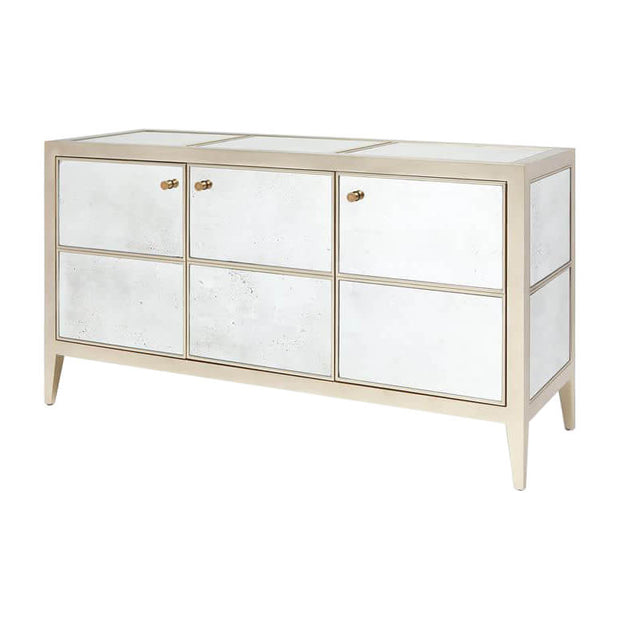 Classic sideboard with antiqued mirror panels and silver frame.