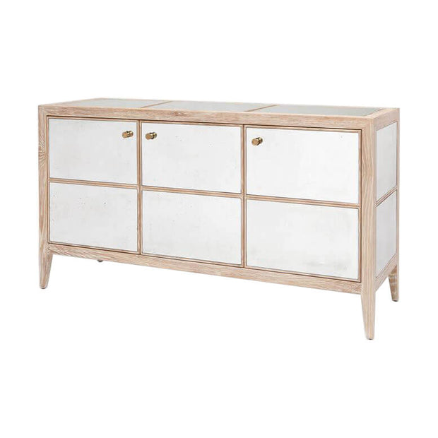 The classic sideboard with hand antiqued mirror panels and distressed wood frame.