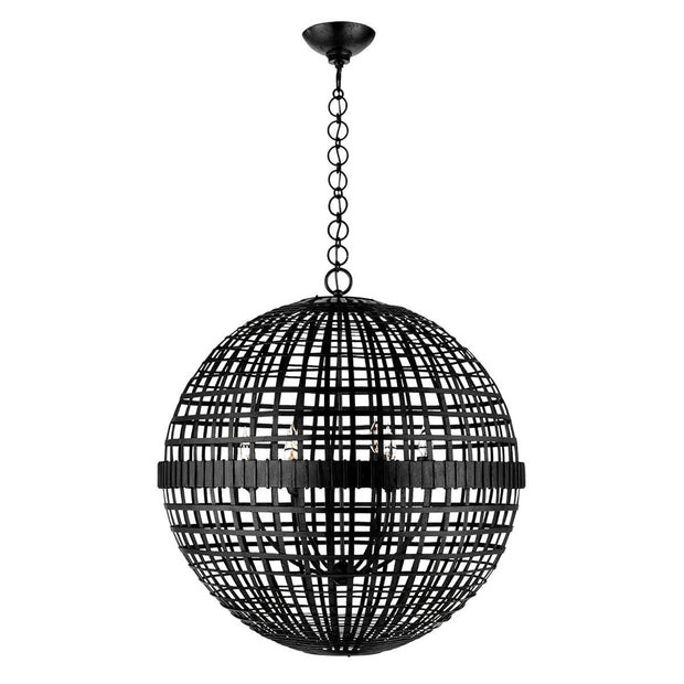 The Mill Globe Lantern is a large aged iron pendant light with a globe shade and a chain hanger.