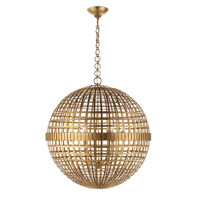 The Mill Globe Lantern is a large gild pendant light with a globe shade and a chain hanger.