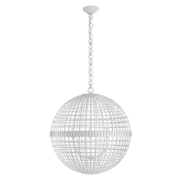 The Mill Globe Lantern is a large plaster white pendant light with a globe shade and a chain hanger.