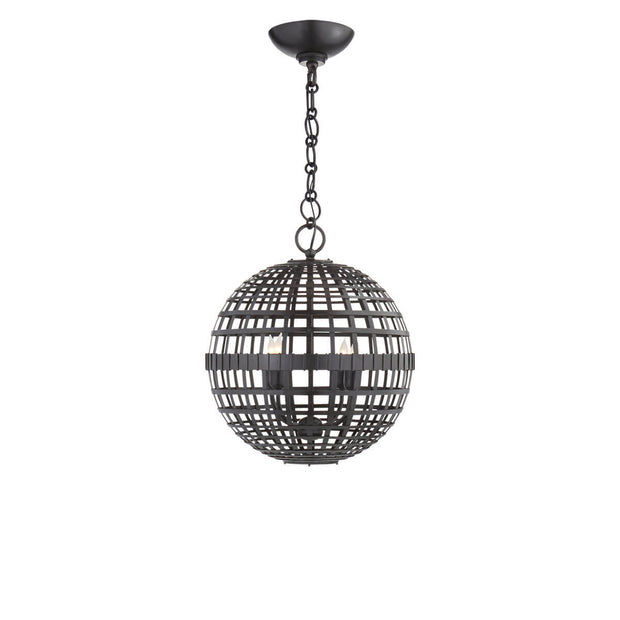 The Mill Globe Lantern is a small aged iron pendant light with a globe shade and a chain hanger.