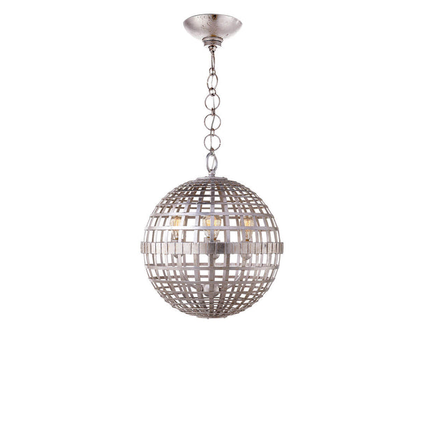 The Mill Globe Lantern is a small burnished silver leaf pendant light with a globe shade and a chain hanger.