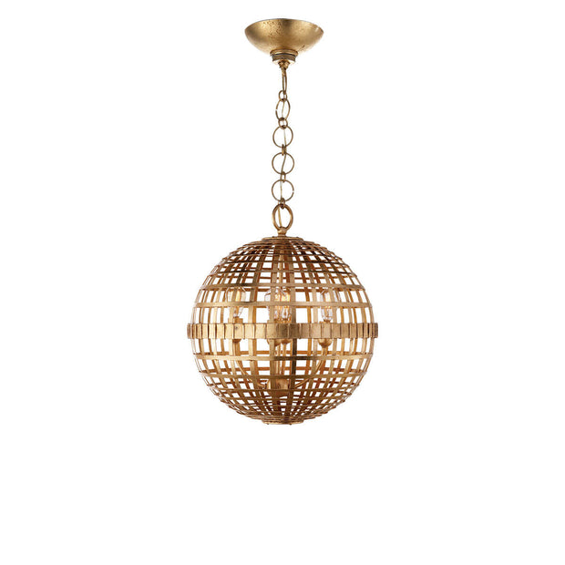 The Mill Globe Lantern is a small gild pendant light with a globe shade and a chain hanger.