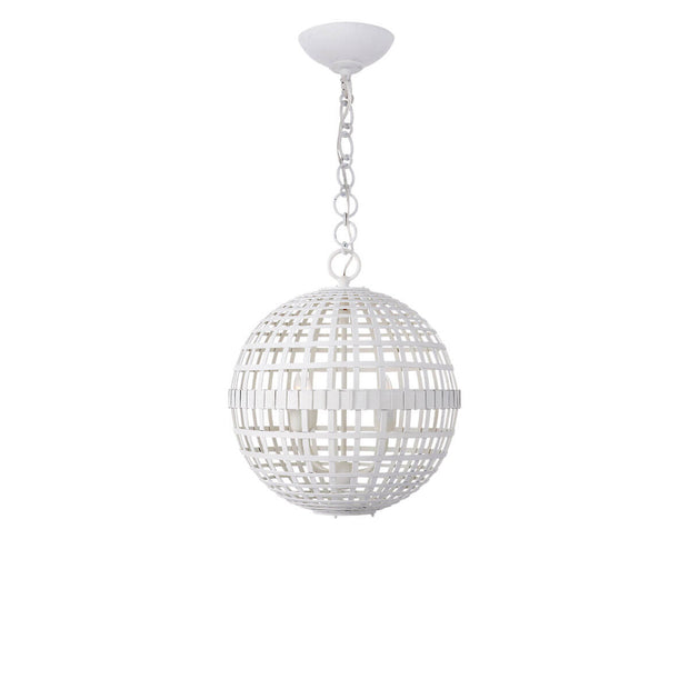 The Mill Globe Lantern is a small plaster white pendant light with a globe shade and a chain hanger.