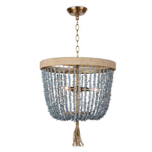 The Kuta Chandelier is a beaded chandelier with a rattan-wrapped frame, chain hanger, and aqua shard beads.