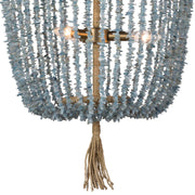 Closeup of the strings of aqua beads and tassel detail on the coastal style beaded chandelier.