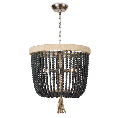 The Kuta Chandelier is a beaded chandelier with a rattan-wrapped frame, chain hanger, and blue black round beads.
