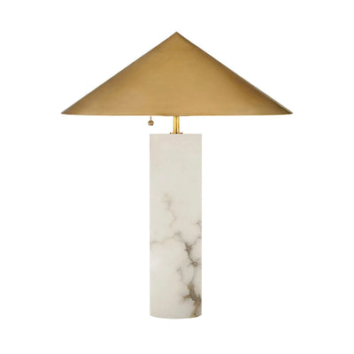 Minimalist table lamp with alabaster base and brass cone shade.