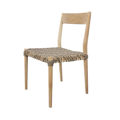 The Asheville Outdoor Dining Chair has a reclaimed teak frame and a woven rope seat.
