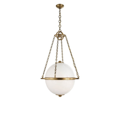 The Modern Globe Lantern has a white glass globe light hanging from a hand-rubbed antique brass chair and ring bracket.