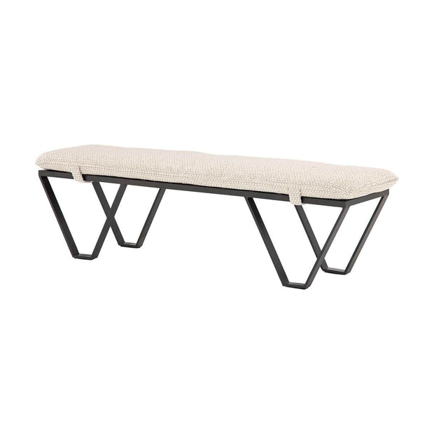 Modern, front entrance bench with triangle shaped iron legs and an off-white upholstered seat.