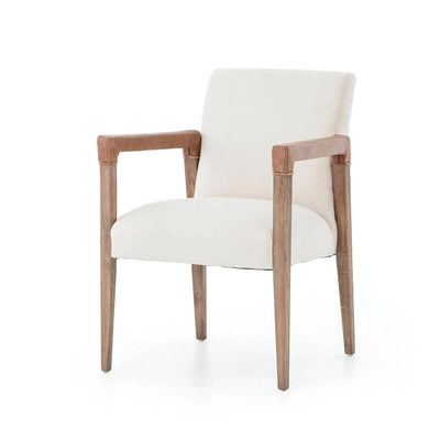 Elegant dining arm chair with tapered solid oak legs and white linen upholstered seat.
