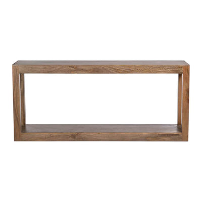 The Orillia Console Table is made from solid mango wood in a brindled ash finish with a clean look.