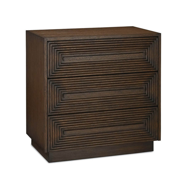 Geometric pattern carved nightstand with 3 drawers with soft-close glides.
