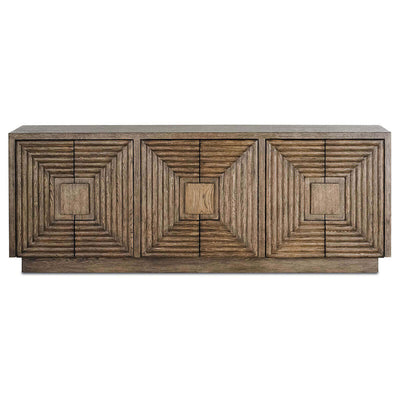 The Segovia Credenza with hand-carved geomterical patterns in a distressed cocoa oak wood finish.