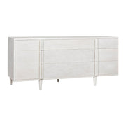 Modern, knob-less dresser made from mahogany wood in a white finish with 9 drawers of varying sizes.