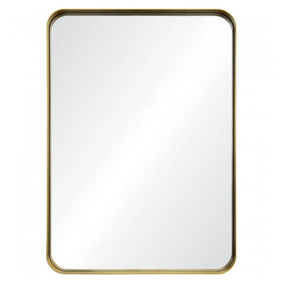 gold mirror with rounded corners. Modern gold mirror style.