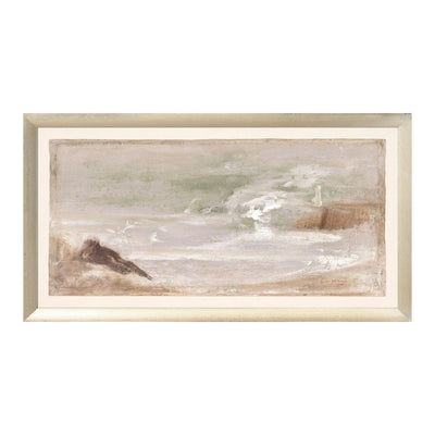 A soft-toned historic piece of a seascape representation, painted in a blend of vibrant pastel colours.