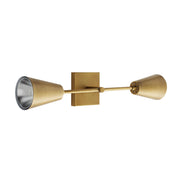 Side view of the Kona Wall Sconce showing the lined lamp shade and antique brass finish.