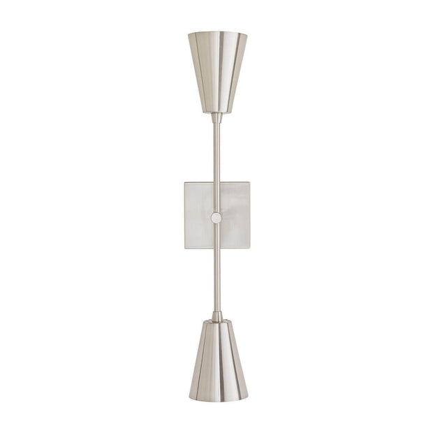The Kona Wall Sconce in a brushed nickel finish and cone shaped lamp shades.