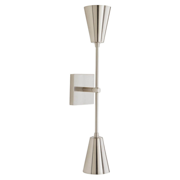 Polished nickel minimal wall sconce with coned metal lamp shades.