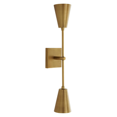 Modern symmetrical wall sconce with double lampshades in an antique brass finish.