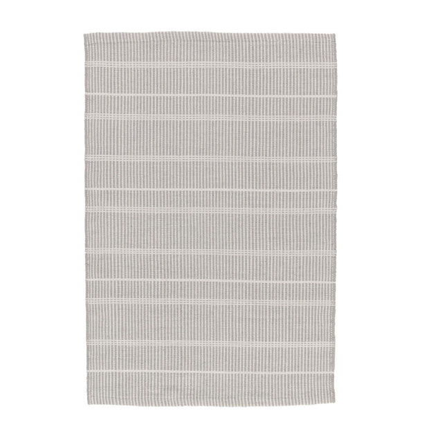 Grey Indoor and Outdoor Rug. Striped grey and white rug made out of recycled plastic bottles.