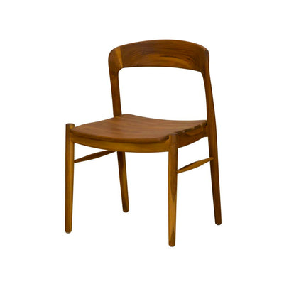 Modern dining room chair with rounded back and coastal look.
