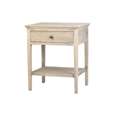 The Naumburg Sidetable is made of recycled wood in a grey and white distressed paint finish and has a classic shape with straight legs and a single drawer.
