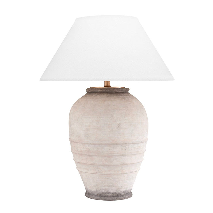 Stone base table lamp with Belgian linen lamp shade.