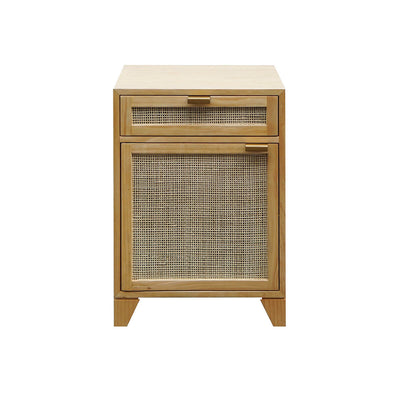 The Nazca Side Table is made of natural pine wood and has one drawer and one door with cane inlay and removable shelf.