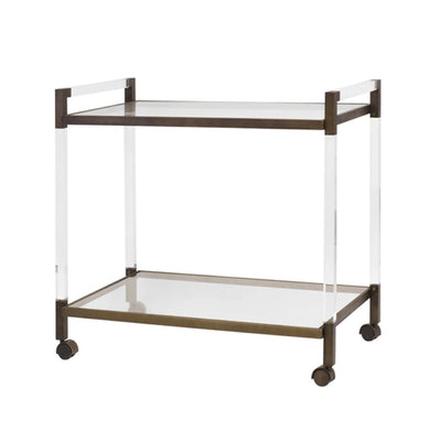 Bronze and acrylic bar cart with wheels. Sideview.