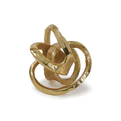 Modern sculpture of a metal knot made out of aluminum with a gold finish.
