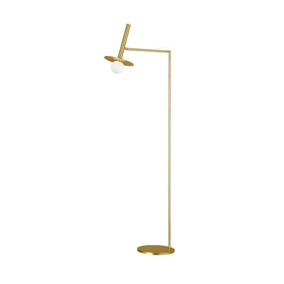 Burnished Brass floor lamp for in your living room. Modern and minimal brass floor lamp.