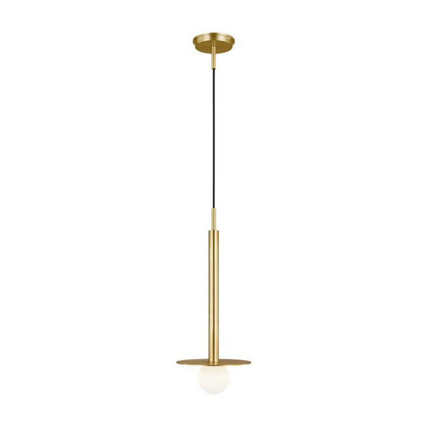 Manila Pendant. Modern linear pendant with a circular shield and bulb in a burnished brass finish.