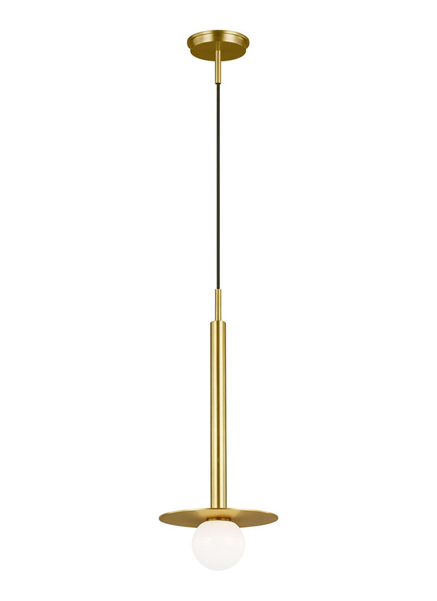 Burnished brass modern kitchen pendant with an industrial look.